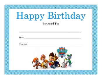 Paw Patrol Birthday Certificates (Includes 4 Certificates)