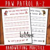 Paw Patrol Complete Alphabet Handwriting Practice Worksheet Set