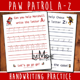 Paw Patrol Complete Alphabet Handwriting Practice Worksheet Set