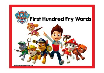 Paw Patrol Themed First Hundred Fry Words Card Game and Board Game