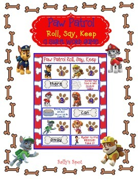 Paw Patrol   Roll, Say, Keep   A Sight Word Game