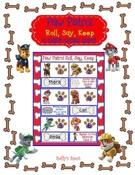 Paw Patrol   Roll, Say, Keep   A Sight Word Game
