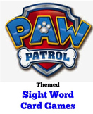 Paw Patrol Themed Sight Word Card Games
