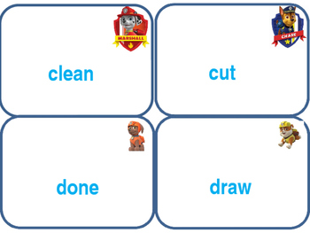 Paw Patrol flash cards Dolch Level 3