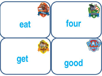 Paw Patrol flash cards Dolch Primer Level