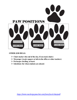 Paw Positions (Classroom Jobs)