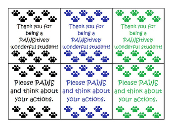 Paw Print Behavior Cards - Color Variety