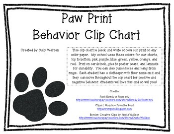 Paw Print Behavior Clip Chart