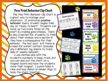 Paw Print Behavior Clip Chart