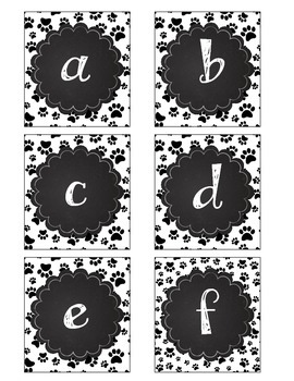 Paw Print Boggle Letters with Chalkboard