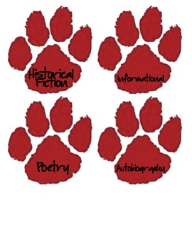 Paw Print Book Bin Genre Labels