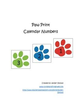 Paw Print Calendar Numbers