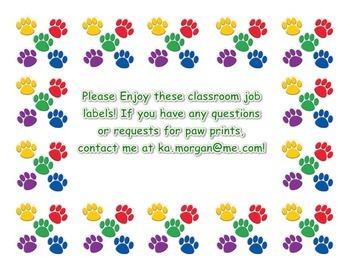 Paw Print Class Jobs