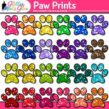 Paw Print Clip Art {Rainbow Glitter Dog, Cat, & Pet Graphi