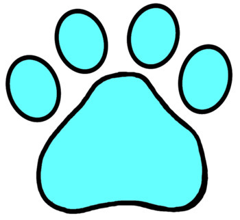 Paw Print Clip Art Solid Colors