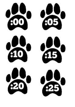 Paw Print Clock Numbers
