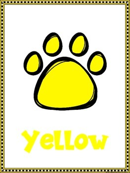 Paw Print Color Posters For Your Dog, Cat or Bear Theme