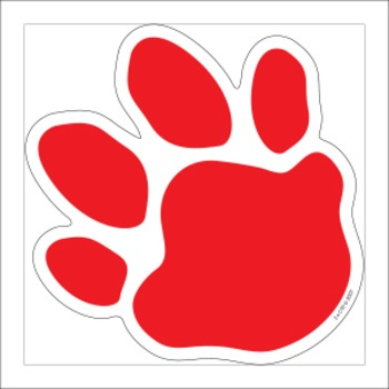 Paw Print Cut Out - Red Black White