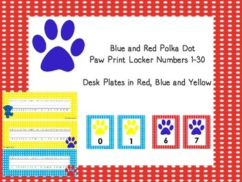 Paw Print Desk Plates and locker numbers 1-30