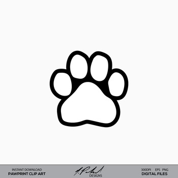 Paw Print Digital Clip Art - Paw Print Clip Art