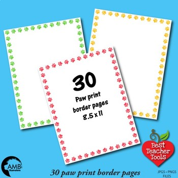 Paw Print Digital Papers and Backgrounds 33 Colors {Best Teacher Tools} AMB-1863