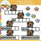 Paw Print Five Frames Clip Art