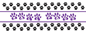 Paw Print Hall Passes - purple and black editable file