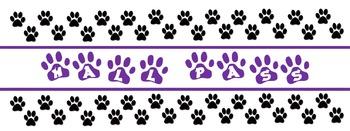 Paw Print Hall Passes - purple and black editable file