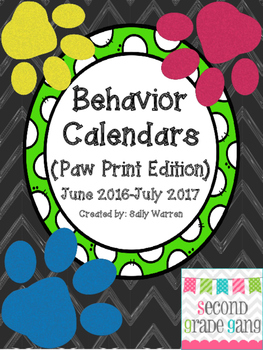 2016-2017 Paw Print Monthly Behavior Calendars to use with Clip Chart