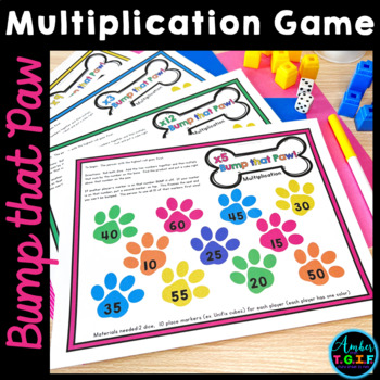 Multiplication Bump Game Facts 2-12 Perfect Squares Paw Prints