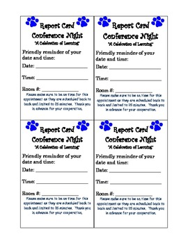 Paw Print Parent Teacher Conference Reminder