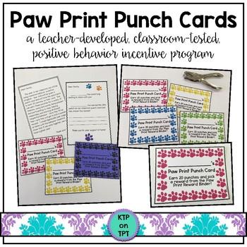Paw Print Punch Cards (Positive Behavior Incentive Program)