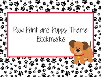 Paw Print Puppy Bookmarks for Students Red, Black, and Puppies