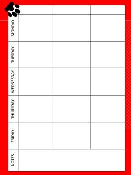 Paw Print Teacher Binder Set - Red