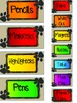 Paw Print Teacher ToolBox Labels (Red, Orange, Yellow, Green, Blue, Purple)