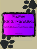 Paw Print Teacher ToolBox Labels (Red, Orange, Yellow, Gre