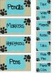 Paw Print Teacher Toolbox Labels with blue background