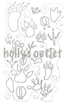 Paw Print Tracking Coloring Page // Worksheet, Animals Tracking, Wildlife