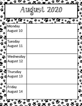 Paw Print Weekly Calendars 2017-2018 School Year CUTE!