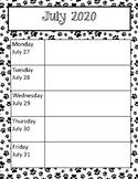 Paw Print Weekly Calendars 2020-2021 School Year CUTE!