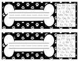 Paw Print and Dog Bone Name Plate/Labels-with Alphabet Chart