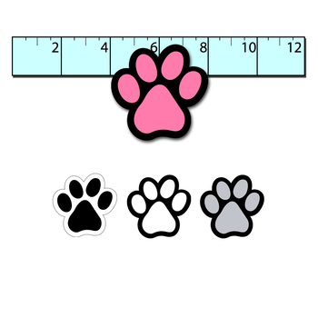 clipart paw prints // 25 .png files // black, white, grayscale, rainbow colors
