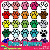 clipart paw prints // 25 .png files // black, white, grays