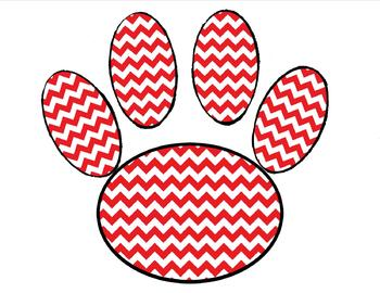 Paw Print in Red Chevron