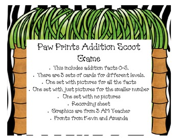 Paw Prints Addition Scoot