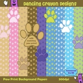 Backgrounds / Digital Papers with Paw Prints Clip Art