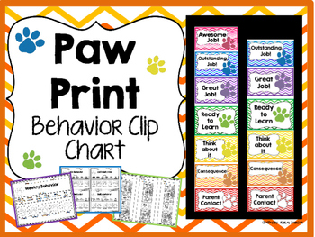 Paw Prints Behavior Clip Chart Outstanding in BLUE