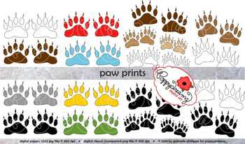 Bear Paw Prints Clipart by Poppydreamz
