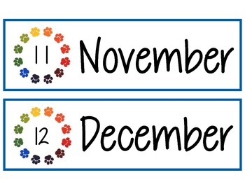 Paw Prints Months of the Year