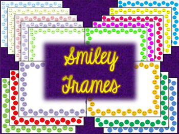 Paw Prints, Smiley Faces, & Multicolor Shapes Borders Frame Background Combo Set